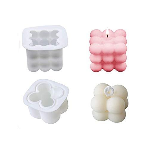 BAQI 2 Stück DIY Kerzenform 3D Rubik's Cube Soja Silikon Kerze Seife Herstellung Formen für Handwerk Ornamente Fondant Duftkerzen, Sojawachs Gipsform