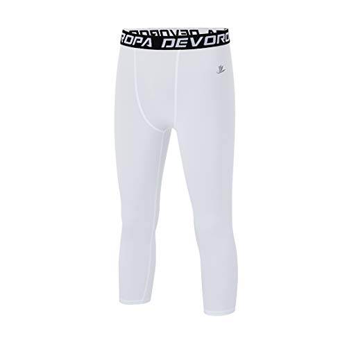 Devoropa Youth Boys Compression Pants 3/4 Length Sports Tights Leggings Soccer Basketball Base Layer White S