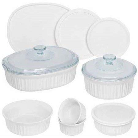 Corningware French White 12-Piece Round and Oval Bakeware Set