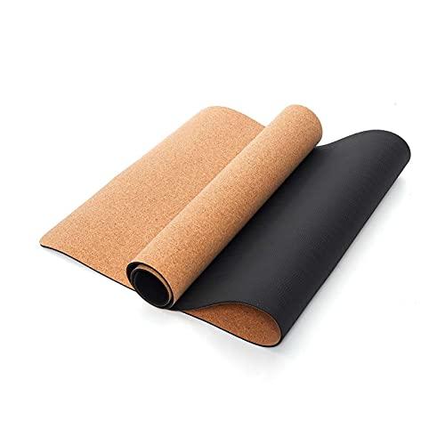 Estera de yoga 183x68C M Non-Slip T P E Soft Corch Yoga Mats Fitness Gimnasia natural Deporte Mat de yoga Almohadillas de ejercicio Masaje Bolsa de almacenamiento Buena elasticidad antideslizante.