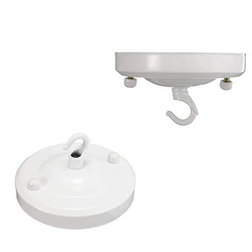 Plafón de techo de la lámpara de la vendimia, lámpara colgante del sostenedor de la placa del gancho de Rose(Blanco)