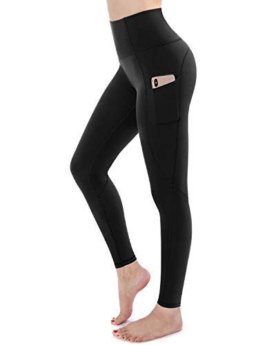 STYLEWORD Womens Yoga Pants with Pockets High Waist Workout Leggings Running Pants(Black-018A,S)