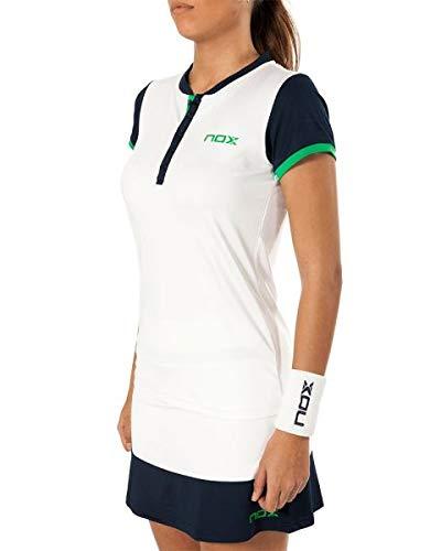 NOX Polo Pro Blanco Azul Logo Verde Mujer