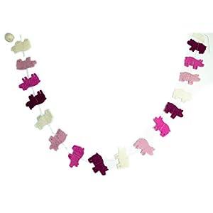 feelz Girlande Schweine aus Filz, Filzgirlande Schwein rosa, weiss Dekoration Kinderzimmer Bauernhof, Glücksbringer…