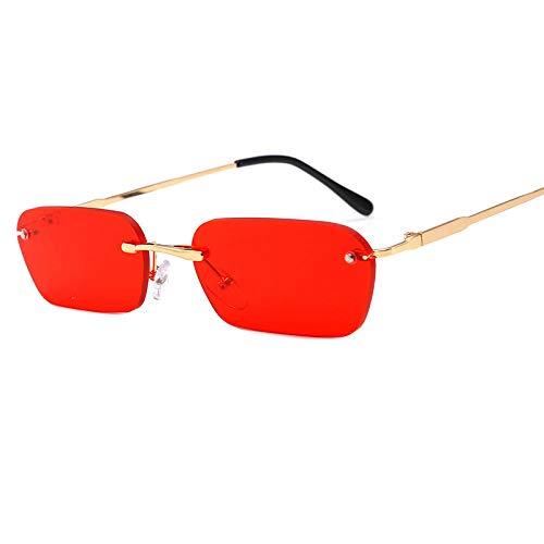 Gafas de sol sin montura de moda, gafas de moda para hombres y mujeres, gafas de sol retro con montura redonda para hombres-Como se muestra_ Película roja con marco dorado