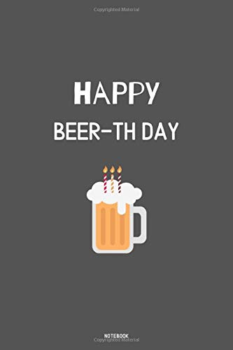 HAPPY BEER-TH DAY Notebook: kariertes Notizbuch A5 mit Spruch - 110 Seiten | Geburtstag Bier Happy Birthday | Geschenk Weihnachten Geburtstag