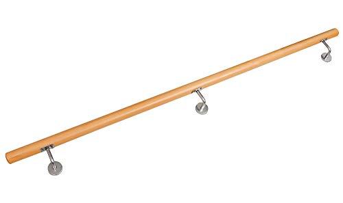 Corrimano Scalo Ringhiera Incastrata alla Balaustra Legno di Faggio V2Aox 50-230 cm, VA-hlaufbuche-Länge:230 cm