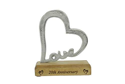 20 Aniversario Rústico Corazón Decoración – 20 Año Aniversario (hsslove20)