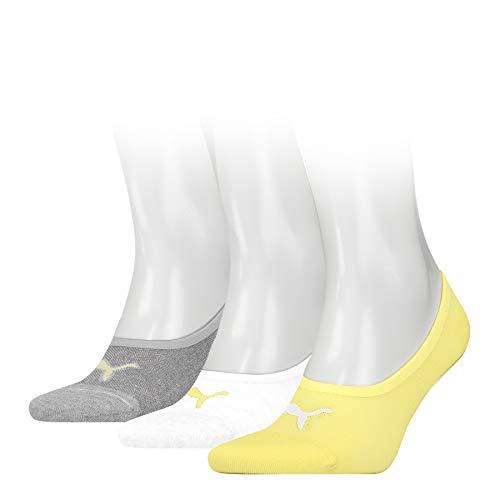 PUMA Footie (3 Pack) Calcetines, Neon Yellow, 35/38 Unisex Adulto