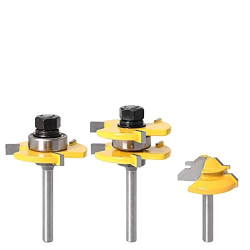 3 piezas 8 mm 6 mm 1/4 juego de trinchera de vástago de válvula juego de enrutador binaural de madera, pequeño bloque de 45 grados broca para corte de madera