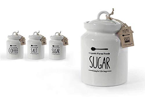 GICOS IMPORT EXPORT SRL Tris Set 3 pz barattoli in Ceramica 12 * 17 cm Home Sale Zucchero caffè Salt Sugar Coffee 784811