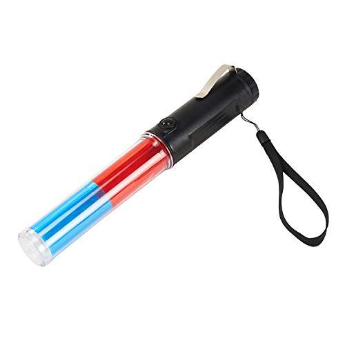 Mufly Leuchtstab zur Verkehrsregelung Traffic Zauberstab,Taschenlampe,rot/Blau, Drei Leuchtmuster,Anhaltestab, Signal Sicherheitsleuchte(rot blau)