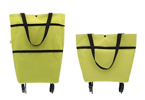 Premium Einkaufstrolley mit Rädern & Stützen (faltbar klappbar wasserabweisend) Shopping Bag Einkaufstasche Räder Tasche Trolley Einkaufstrolli Trolli Green (Grün) Marke HUKITECH