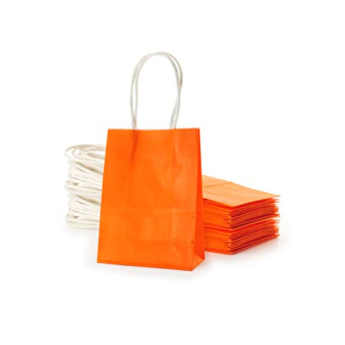 AWELL Small Orange Paper Bag with Handle Party Favours Bag 6x4.5x2.5 inch for Halloween Wedding Birthday Recycled Bag, Pack of 24