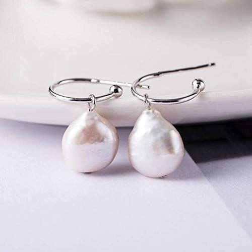 WOZUIMEI Eardrop Earring Stud Earrings For Women S925 Silver Natural Pearl Earrings For Women Design Élégant Et Simple Boucles D'Oreilles Artisanales en Plaqué Orargent, Argent 925