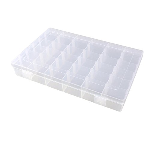 KLOUD City Jewelry Box Organizer Storage Container with Adjustable Dividers 36 Grids (Clear Plastic)