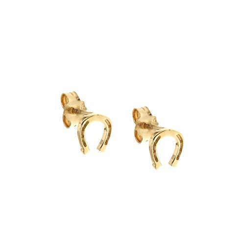 Orecchini In Oro 18 Kt 750/1000 A Forma Di Ferro Di Cavallo Lucidi Da Donna, Oro Giallo