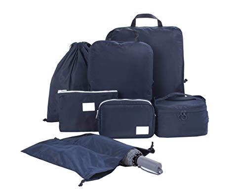 圧縮できるトラベルポーチ アレンジケース 7点セット 旅行 出張 軽量 大容量 ファスナー圧縮 衣類収納 下着ポーチ 化粧ポーチ 靴入れ 小物入れ 巾着袋 スーツケース整理 パッキングキューブ (ネイビー)