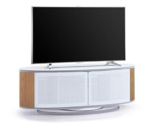 MDA Designs LUNA - Armario ovalado con puertas de cristal de color blanco brillante para televisores de pantalla plana de hasta 52 pulgadas Oak Side Panel