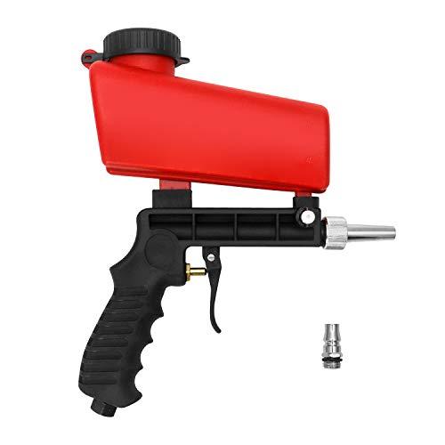 QWORK Pistola de chorro de arena , pistola neumática , para mantenimiento automotriz para óxido , pintura , roja