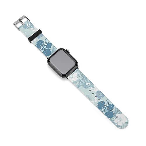 Correa de silicona para reloj de Apple Watch sin costuras, color azul hibisco, adecuado para mujeres y parejas masculinas, longitud ajustable, 38mm/40mm,