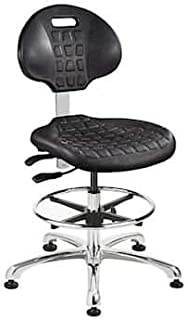 Standard Bevco 7000CR-3850S//5 Series 7000 Polyurethane Black Class 10 Ergonomic Industrial Low Height Seating Chair with Plastic Base and Casters