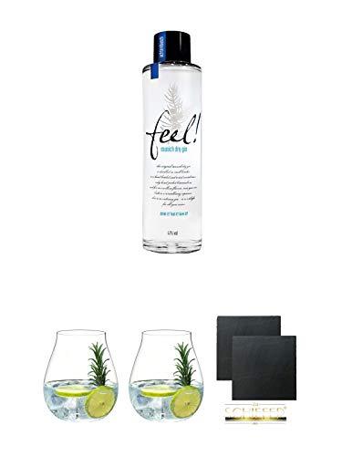 FEEL Gin Munich Dry Gin Deutschland 0,5 Liter (HALBE) + Gin Tonic Glas - 5414/67 + Gin Tonic Glas - 5414/67 + Schiefer Glasuntersetzer eckig ca. 9,5 cm Ø 2 Stück