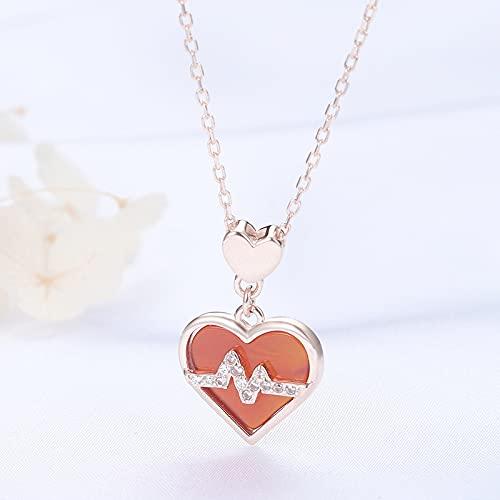 ZhaoZZ Collares Mujer Joven, Cornalina Colgante, Collar De Piedras Preciosas, Collar Rojo del Corazón De Onyx, S925 Sterling Silver Love Onyx Colgante, Regalo For Novia (Color : Rose Gold)