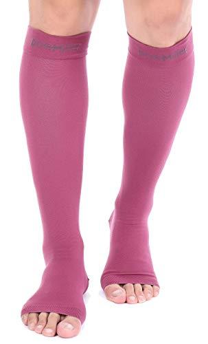 Doc Miller Open Toe Socks – 1 Pair Compression Socks Women & Men 20-30mmHg Support Stockings Restless Legs Air Travel DVT Shin Splints Varicose Veins Legging Medical Grade Nurses (Maroon, Medium)