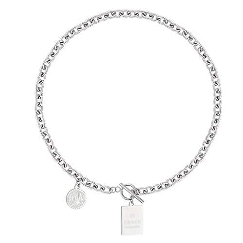 LTCTL Collar Collar de Etiqueta de Hip Hop de Acero de Titanio, Collar Colgante de clavícula de la Cadena Vintage, Regalo del día de San Valentín/Regalo de la Madre-Plata-Plata Regalo Collar