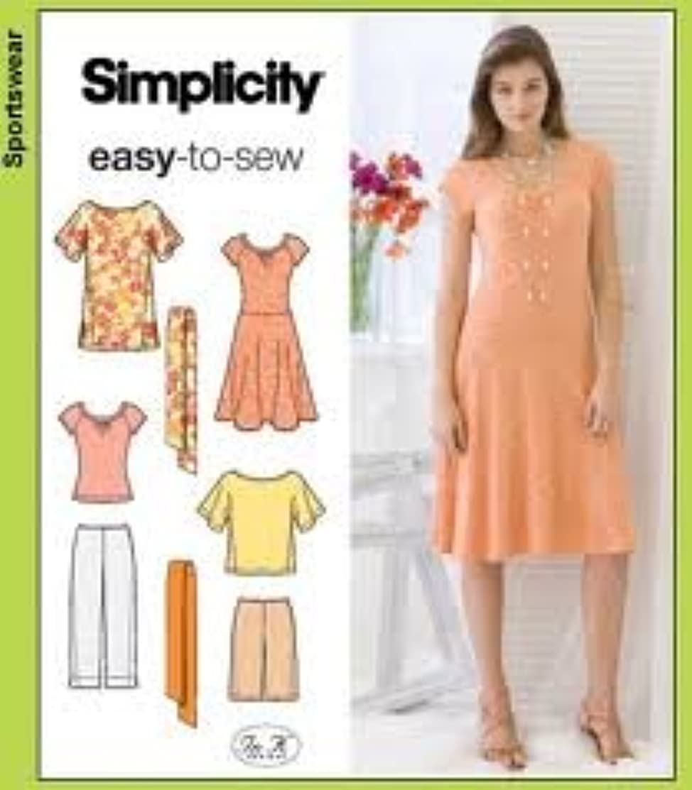 Simplicity Pattern 3759 Cropped Pants, city Shorts, Knit Dress or Top size R5 14 -22