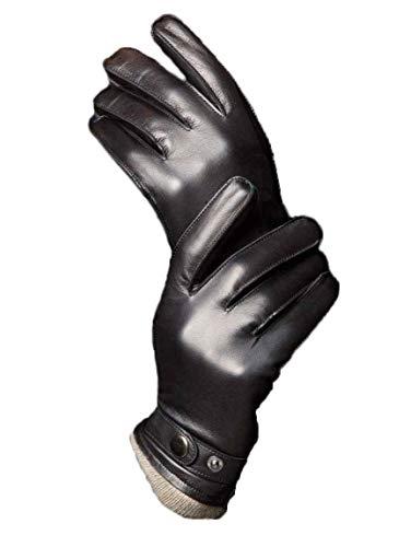 YISEVEN Guantes Hombre Pantalla Táctil Invierno de Cuero de Oveja de Real Piel de corder Dedo Completo Cálidos Forroda de terciopelo Corto Térmico Muñeca con botón de Conducción moto regalo, Negro S