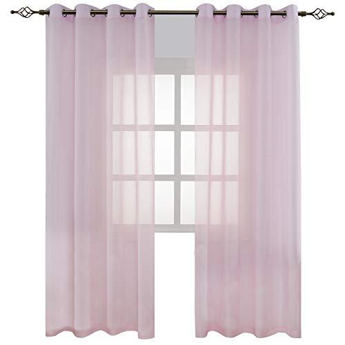 FLOWEROOM Transparent Voile Vorhang Gardinen - Einfarbige Durchsichtig Vorhänge Wohnzimmer Ösenvorhang 245x140 cm Rosa 2er Set