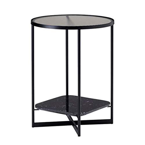 N/Z Tägliche Ausrüstung Couchtisch Runder Beistelltisch aus Glas Metall Beistelltisch mit Ablage Regal Nachttisch Kleiner Sofatisch für Wohnzimmer Schlafzimmer (Farbe: Weiß)