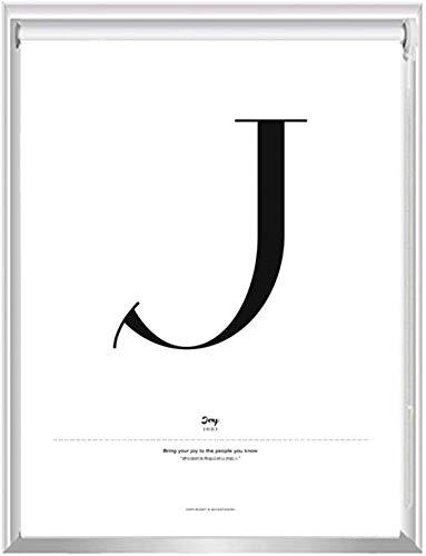 HHJJ Blanca de la Ventana del apagón Cortinas enrollables de Privacidad Dormitorio, Letra J Diseño de Habitaciones oscurecimiento persianas, 60cm / 80cm / 100cm / 120cm / 140 cm de Ancho