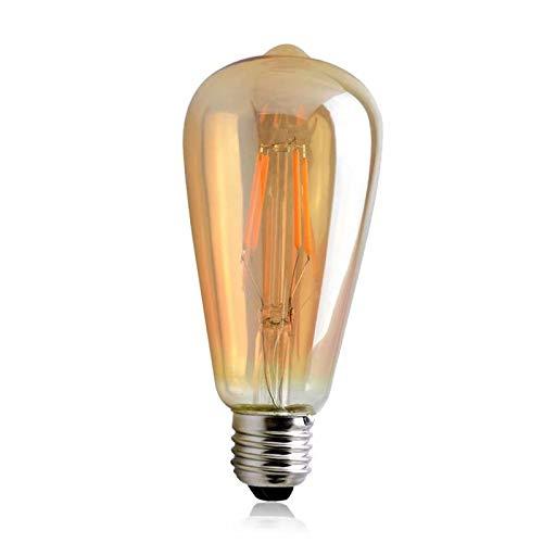 1 LED Bombilla Vintage Edison de 6 Vatios, de Luz Blanca y Cálida y Con Filamentos de Hilo de Estilo Jaula