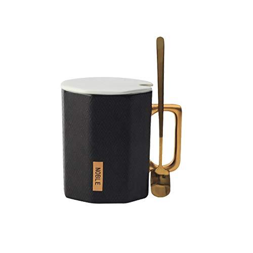 Große Kapazität Business Office Coffee Water Cup Becher Mit Überdachtem Löffel Polygon Keramik-tasse 350ml das Schwarz