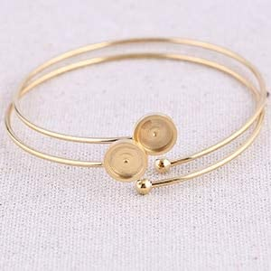 KASMOM - 5pcs rose gold plated stainless steel 8mm cabochon bracelet base blanks diy cuff bangle bezel settings for jewelry - gold