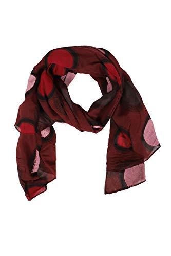 Zwillingsherz Seiden-Tuch im Punkt Design - Hochwertiger Schal für Damen Mädchen - Halstuch - Umschlagstuch - Loop - weicher Schlauchschal für Frühjahr Sommer Herbst und Winter - weinrot