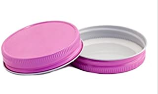 (12 Pack) Mason Jar Lids - Regular Mouth - Canning, Showers, Weddings, Party Favors (Pink)