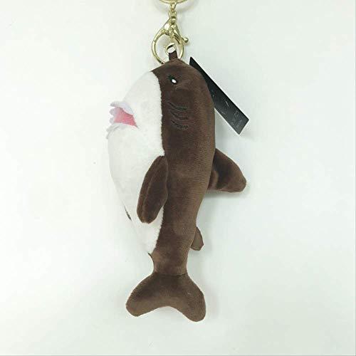 DOUFUZZ SNHPP Farbige Hai Anhänger Kinder Plüsch Puppe Schlüsselanhänger dekorative Anhänger 15cm Braun