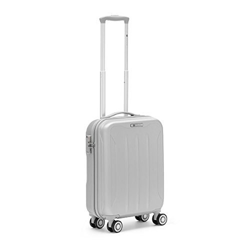 R Roncato Trolley Rigido Medio Valigia Serie Flight in ABS, 55 cm, Colore Argento