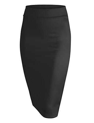 Lock and Love LL WB700 Womens Scuba Midi Skirt XXXL Black