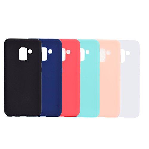 """IJIA 6 Pack Custodia per Samsung Galaxy A8 2018 (SM-A530) Colore Puro TPU Silicone Protettivo Caso Protettiva Case Cover per Samsung Galaxy A8 2018 (5.6""""),Nero,Blu Scuro,Rosso,Verde,Rosa,Bianco"""