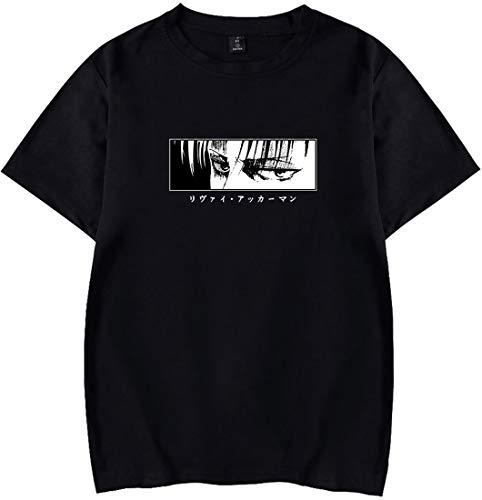 EMLAI Hombres Camisetas Attack On Titan con Logo Figure De Anime Moda Serie de Colores Puros Top De Manga Corta (XL, Anegro-5859)