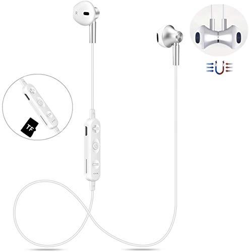 Bluetooth Kopfhörer Kabellos V4.2 in-Ear HIFI Magetisch Wireless Headset mit TF-Karte Slot, IPX4 Wasserdicht Sport Drahtlose Ohrhörer Kompatibel iPhone iPad Android Bluetooth-Geräte(Silber-Weiß)