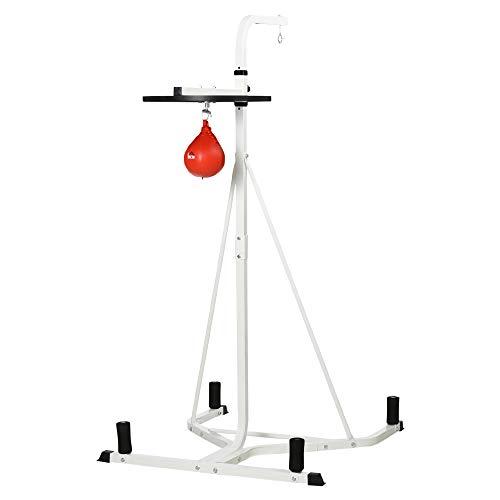 homcom Piattaforma con Pera da Boxe per Allenamento, in Acciaio, Punching Ball Rossa, 115x163x224cm