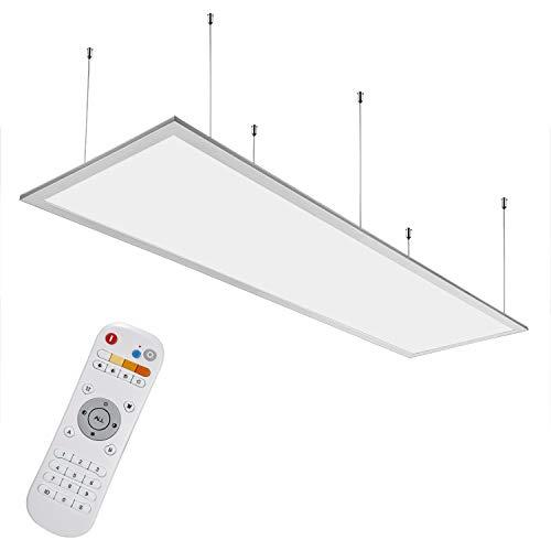 Anten Gustaf I LED Panel 40W I Weiß I 120x30 cm I Dimmbar mit CCT Fernbedienung und Farbwechsel von Warmweiß bis Kaltweiß, fürs Büro als Pendelleuchte oder Einbau Deckenlampe.