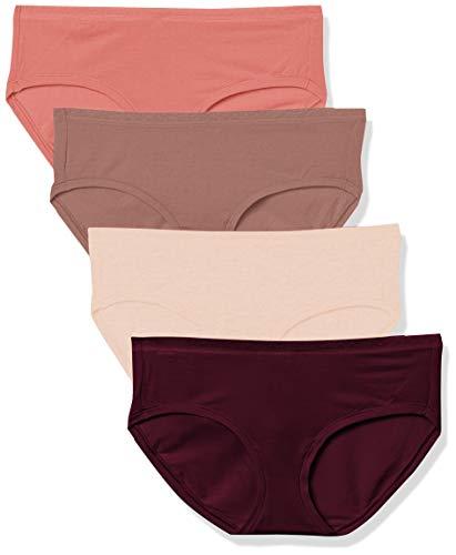 Amazon Essentials 4-Pack Modal Hipster Underwear Bragas, Morado Oscuro/Morado Claro/Malva/Rosa Claro, L