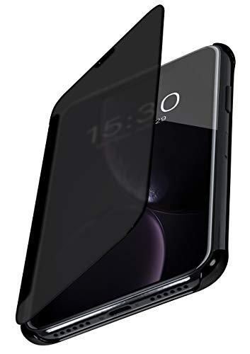 Preisvergleich Produktbild moex Dünne 360° Handyhülle passend für iPhone Xr / Transparent bei eingeschaltetem Display - in Hochglanz Klavierlack Optik,  Anthrazit